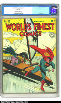 World's Finest Comics #12 (DC, 1943) CGC VF 8.0 Off-white to white pages. Jack Burnley cover. One other copy of issue #1...
