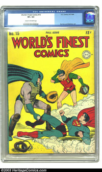World's Finest Comics #15 (DC, 1944) CGC VF+ 8.5 Cream to off-white pages. Burnley and Robinson art. CGC's highest-grade...