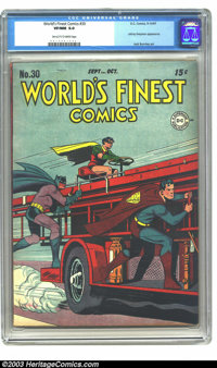 World's Finest Comics #30 (DC, 1947) CGC VF/NM 9.0 Off-white to white pages. Superman, Batman, and Robin. Johnny Everyma...