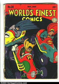 World's Finest Comics #34 (DC, 1948) Condition: FR/GD. Jim Mooney cover. Curt Swan, Fred Ray, and Dick Sprang art. Front...
