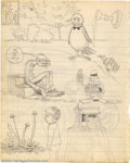 Original Comic Art:Sketches, Robert Crumb - Original Sketches (1962). This is page 104 of one of Robert Crumb's early sketchbooks, and it's listed as suc...