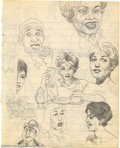 """Original Comic Art:Sketches, Robert and Charles Crumb - Original Sketches (1962). A treat for Crumb fans, this 6.5"""" x 8.5"""" sketch on lined note paper, is..."""