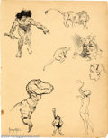 Original Comic Art:Sketches, Frank Frazetta - Original Sketches, Beauties and Beasts (undated). Frank Frazetta's sketches are playgrounds for his fertile...