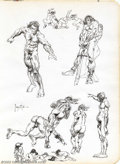 Original Comic Art:Sketches, Frank Frazetta - Original Sketches, Nudes in Motion (undated). An erotic masterpiece told in a rapid, loose line by Frank Fr...