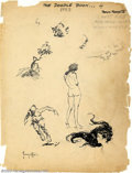 Original Comic Art:Sketches, Frank Frazetta - Original Sketches, Doodle Book Title Page (1953). This art, from one of Frank Frazetta's early sketch books...