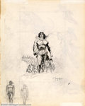 Original Comic Art:Sketches, Frank Frazetta - Original Sketches, Tarzan and Dinosaurs (undated).This large sketch page, filled with pencil and ink drawi...