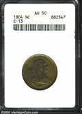 1804 1/2 C Plain 4, No Stems AU50 ANACS. B-10, C-13, R.1. Manley Die State 2.0. A radiant olive-gold representative with...