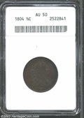 1804 1/2 C Plain 4, No Stems AU50 ANACS. B-10, C-13, R.1. MDS 3.0. A richly detailed representative with deep olive-brow...