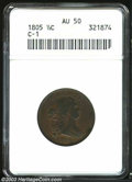 1805 1/2 C Small 5, No Stems AU50 ANACS. B-1, C-1, R.1. Manley Die State 2.0. Repunched 5 in date, die break (as made) a...