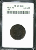 1809 1/2 C MS60 Brown ANACS. B-4, C-3, R.1. Faintly speckled olive-brown and lilac patina. Well struck with good luster...