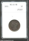 Half Cents: , 1855 1/2 C MS63 Red and Brown ANACS. B-1, C-1, R.1. ...