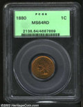 "1880 1C MS64 Red PCGS. Snow-2, ""Scarce."" The second 8 in the date is lightly recut within the upper half of th..."