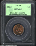 1882 1C MS64 Red PCGS. Flashy with above average semi-prooflike surfaces. Small amounts of crimson toning is seen on the...