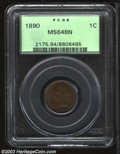 Indian Cents: , 1890 1C MS64 Brown PCGS. Streaky brown surfaces with ...