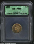Proof Indian Cents: , 1863 1C PR65 ICG. Nicely struck with blushes of coppery-...