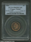 Proof Indian Cents: , 1864 1C Copper Nickel PR65 Deep Cameo PCGS. A boldly ...