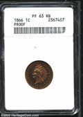 Proof Indian Cents: , 1866 1C PR63 Red and Brown ANACS. Fully struck and highly ...