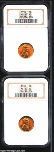 Lincoln Cents: , 1935 1C MS67 Red NGC; and a 1936 MS67 Red NGC, both ... (2 coins)