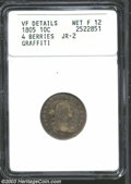 Early Dimes: , 1805 10C 4 Berries--Graffiti--ANACS. VF Details, Net Fine ...