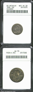 Bust Dimes: , 1834 10C Large 4 Dime--Cleaned--ANACS, XF Details, Net VF30,... (2 Coins)