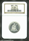 Proof Seated Quarters: , 1891 25C PR66 NGC. Well struck and seemingly pristine, ...