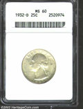 Washington Quarters: , 1932-D 25C MS60 ANACS. Subdued steely luster with orange ...