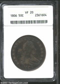 Early Half Dollars: , 1806 50C Pointed 6, Stem VF20 ANACS. O-115, R.1. Balanced ...