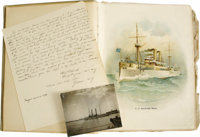 "U.S.S. Maine Sinking Eye-Witness Account With Scrapbook. Autograph Document Signed, ""Chas. P. Howell Chief Enginee..."