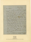 """Autographs:U.S. Presidents, John Tyler Autograph Letter Signed """"Yr Father/J Tyler,"""" twopages, 7.75"""" x 9.75"""", front and verso. Staten Island, Octobe..."""