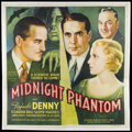 "Movie Posters:Mystery, Midnight Phantom (Reliable Pictures, 1935). Six Sheet (81"" X 81"").Mystery Thriller. Starring Reginald Denny, Claudia Dell, ..."