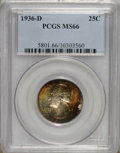 Washington Quarters: , 1936-D 25C MS66 PCGS. Lustrous surfaces are bathed in varyingshades of golden-brown, crimson, lime-green, and lavender on ...