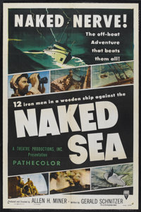 "Naked Sea (RKO, 1955). One Sheet (27"" X 41""). Documentary. Narrated by William Conrad. Small cross point fold..."
