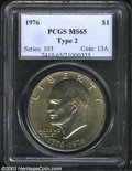 Eisenhower Dollars: , 1976 $1 Type Two MS65 PCGS. Lightly and evenly toned with ...