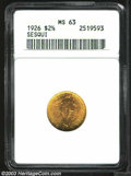 Commemorative Gold: , 1926 $2 1/2 Sesquicentennial MS63 ANACS. Lustrous and ...