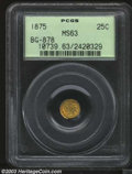 California Fractional Gold: , 1875 25C Indian Round 25 Cents, BG-878, R.3, MS63 PCGS. ...