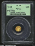 California Fractional Gold: , 1869 50C Liberty Round 50 Cents, BG-1020, Low R.4, AU55 ...