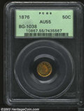 California Fractional Gold: , 1876 50C Indian Round 50 Cents, BG-1038, R.4, AU55 PCGS. ...