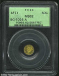California Fractional Gold: , 1871 50C Liberty Round 50 Cents, BG-1027 Die State I, R.5, ...