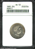 Coins of Hawaii: , 1883 25C Hawaii Quarter AU53 ANACS. Lightly toned at the ...