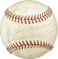 Autographs:Baseballs, 1963 Boston Red Sox Team Signed Baseball. Vintage team signed OAL(Cronin) baseball with 22 signatures from the 1963 Boston ...
