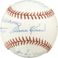 Autographs:Baseballs, 500 HR Club Multi Signed Baseball. Original 11 members of the 500HR Club are featured on this OAL (Brown) baseball. Start ...