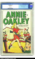 Golden Age (1938-1955):Western, Annie Oakley #1 (Timely, 1948). CGC VF 8.0 Off-white pages. How about a first issue Timely? Overstreet 2002 VF 8.0 value = $...