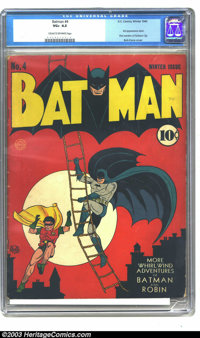 Batman #4 (DC, 1940) CGC VG+ 4.5 Cream to off-white pages. Third appearance of the Joker. First mention of Gotham City...