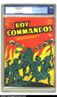 Boy Commandos #1 (DC, 1942) CGC FN/VF 7.0 Off-white pages. Origin of Liberty Belle. Joe Simon and Jack Kirby art. Overst...