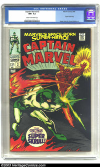 Captain Marvel #2 (Marvel, 1968) CGC NM- 9.2 Cream to off-white pages. Super Skrull story. Gene Colan and Vince Colletta...