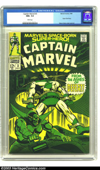 Captain Marvel #3 (Marvel, 1968) CGC NM+ 9.6 White pages. Gene Colan cover and art. Overstreet 2003 NM 9.4 value = $30...