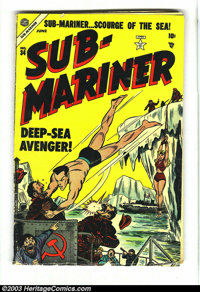 Sub-Mariner Comics #34 (Timely, 1954) Condition: GD/VG. Fantastic bondage cover on this tough Atlas issue. Human Torch a...
