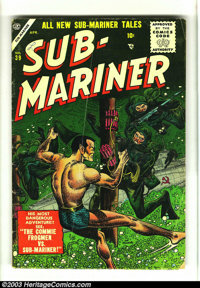 Sub-Mariner Comics #39 (Timely, 1955) Condition: VG-. Fantastic underwater cover featuring Frogmen and a Soviet sub. Ove...