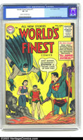 Golden Age (1938-1955):Superhero, World's Finest Comics #77 (DC, 1955) CGC VF- 7.5 Cream to off-white pages. Curt Swan and Fred Ray art. Overstreet 2003 VF 8....