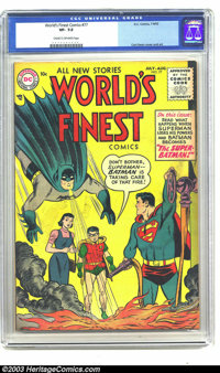 World's Finest Comics #77 (DC, 1955) CGC VF- 7.5 Cream to off-white pages. Curt Swan and Fred Ray art. Overstreet 2003 V...